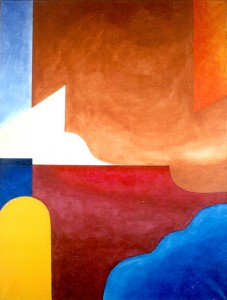 Acrylique sur toile, 90 x 118 cm., cadre bois. Look for what you can not see. Geometrically.